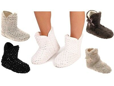 WOMENS SLIPPERS BOOTS BOOTIES SEQUIN FAUX FUR WARM WINTER GIRLS LADIES SIZE 3- 8