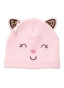 27df09bbd Carter's Girls Kitty Cat Pink Knit Baby Hat Size 3-9 months MSRP $15 ...