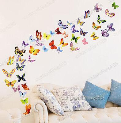 42 Mariposas Coloridas Vinilo Adhesivos De Pared CALIDAD PREMIUM Habitación Niña