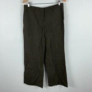 Country-Road-Pants-Womens-12-Brown-Striped-Wide-Leg-Linen-Blend