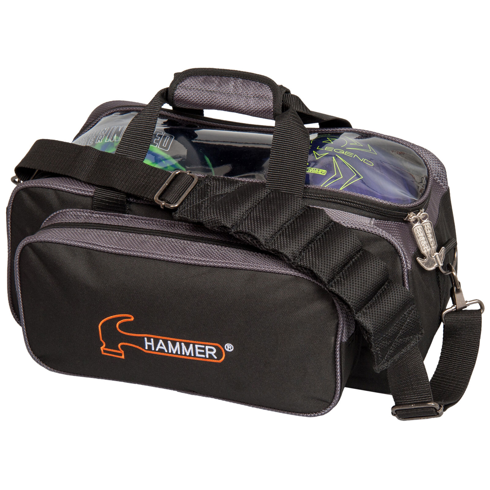 Hammer Double Tote 2 Ball Bowling Bag Carbon