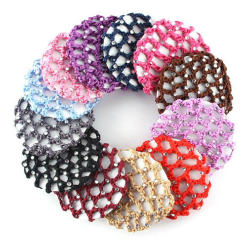 Frauen Bun Cover Snood Haarnetz Ballett Dance Skating Crochet Chic Strass  X
