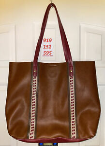 Steven by Steve Madden brown and cranberry tote bag