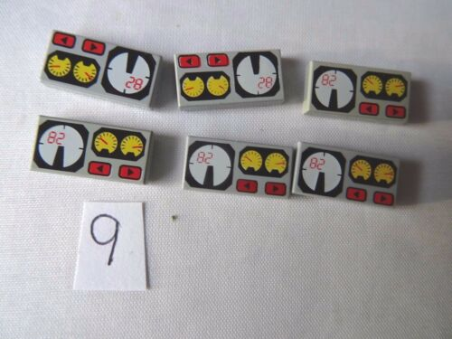 LEGO  3069BPX19 GREY 1 x 2 TILE WITH RED 82 /& YELLOW /& WHITE GAUGE PATTERN x 6