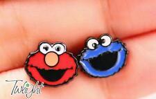 sesame street elmo cookie monster metal earring ear stud earrings 2PCS earring n