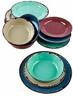 12pc.rustic Melamine Dinnerware Kitchen Dining Party Ware Table Housewarming