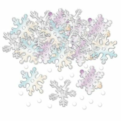 Noël Iridescent en relief flocons de neige Confettis noël vaisselle