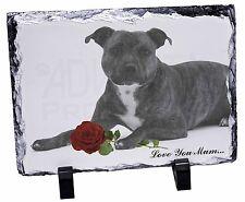 Staffie (B+W) Rose 'Love You Mum' Photo Slate Christmas Gift Orn, AD-SBT6R2lymSL