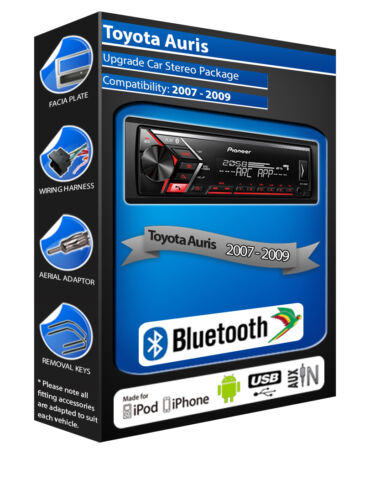 Toyota AURIS Auto Radio Pioneer MVH-S300BT Estéreo Bluetooth Manos Libres Kit