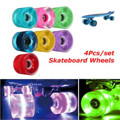 60mm Retro Cruiser Longboard Skateboard Wheels Glow Lights Magnetic LED Set NEW!