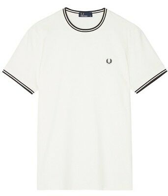 Fred Perry Tipped T-Shirt Snow White Black M1588-129  Large Only RRP £40
