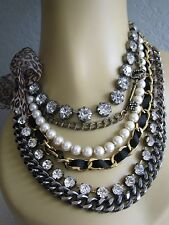 BETSEY JOHNSON ICONIC MULTI ROW FAUX PEARL & CHAIN KEY STATEMENT NECKLACE~RARE