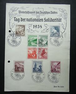 Germany-Nazi-1938-Stamps-Castle-scenes-various-flowers-Winter-Help-WWII-Third-Re