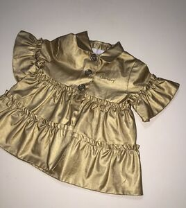 New Burberry Baby Girl Gold Check Print Lining Ruffle Raincoat ... e2d3f456a630