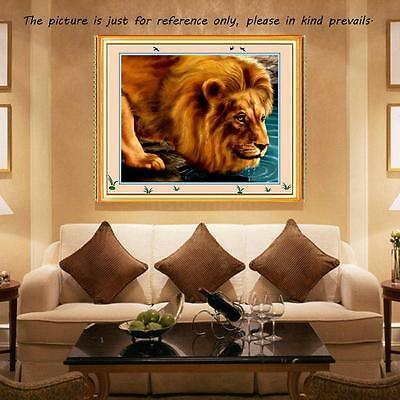 Printed Lion Pattern DIY Cross Stitch Kit 52*42cm Embroidery Set For Home Decor