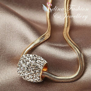 18K-Rose-Gold-Plated-Simulated-Diamond-Studded-Sparkling-Single-Bead-Necklace