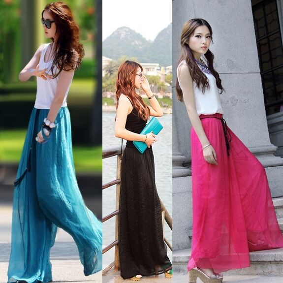 Womens Vintage Slim High Waist Flare Wide Leg Long Pants Palazzo Trousers