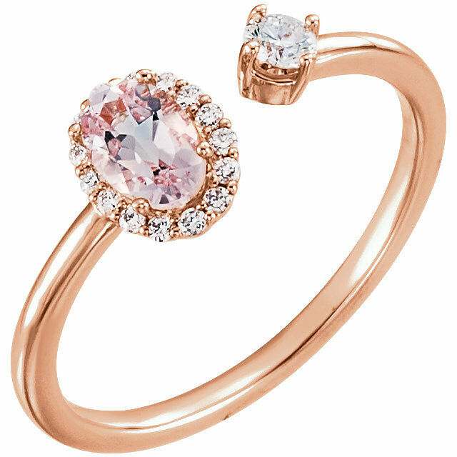 Genuine Morganite & 1 6 CTW Diamond Two-Stone Halo-Style Ring In 14K pink gold