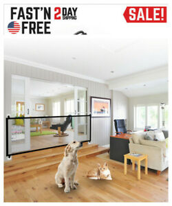 US Large Pet Dog Baby Safety Gate Mesh Fence Portable Guard Indoor Home Kitchen