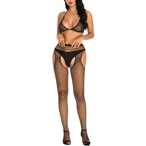 Details about  /Sexy Women/'s Lingerie Lace Dress Halter Bra+Fishnet Stocking Babydoll G-string