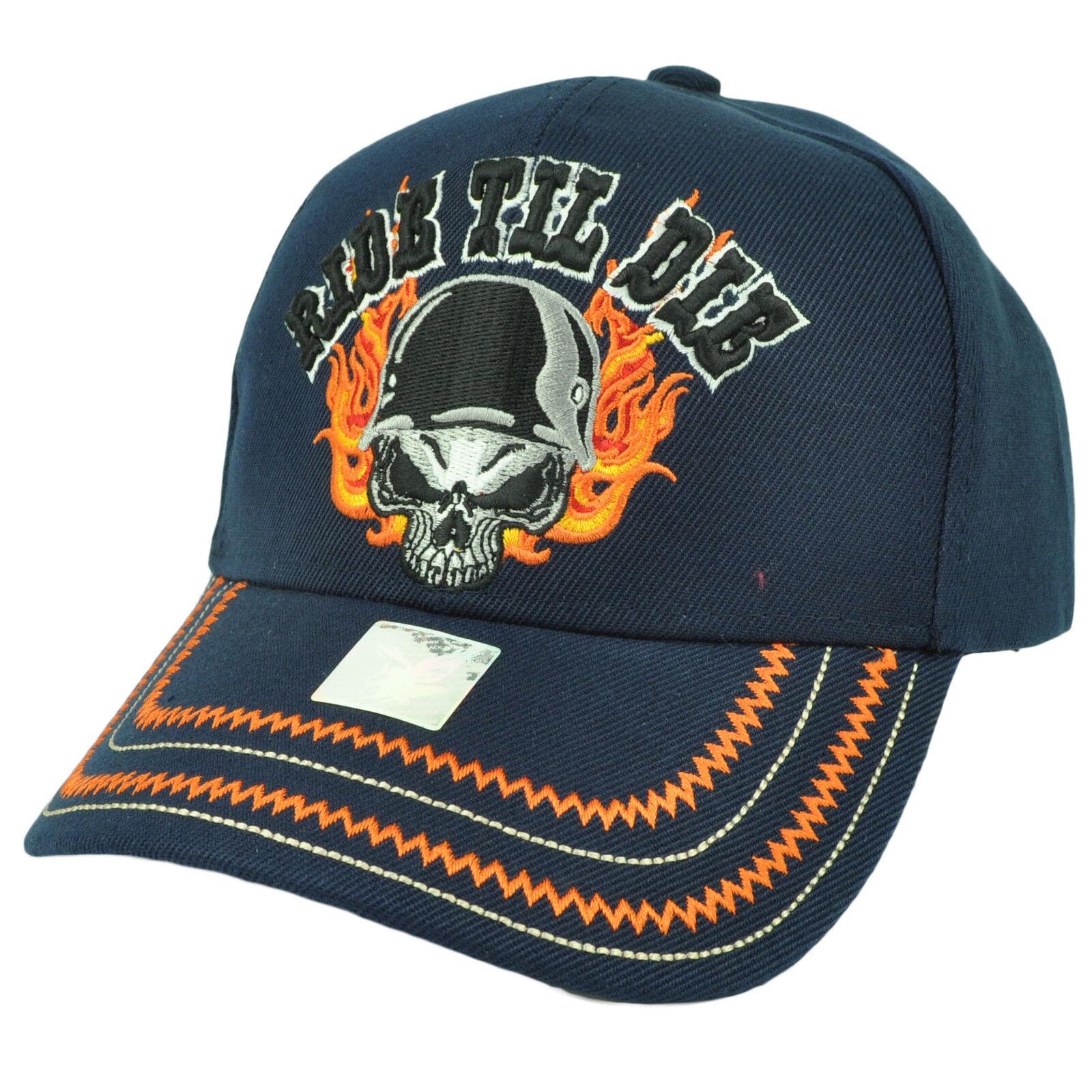 Ride Til Die Totenkopf Flamme Biker Leben Motorräder Hut Kappe Verstellbar Navy