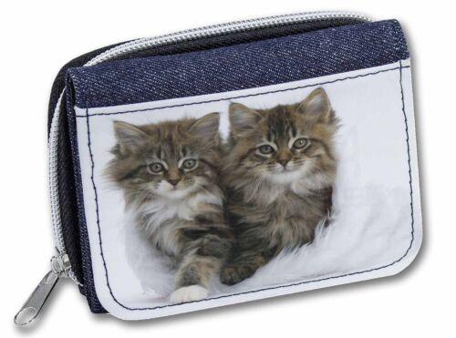 AC-189JW Kittens in White Fur Hat Girls//Ladies Denim Purse Wallet Christmas Gif