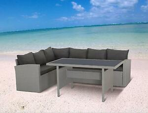 polyrattan lounge set milos grau sitzgruppe gartenm bel garnitur gruppe hoch eck ebay. Black Bedroom Furniture Sets. Home Design Ideas