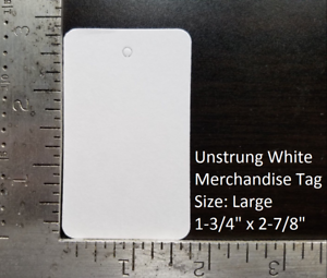 Blank White Merchandise Price Tags w// String Retail Jewelry Strung Large Small