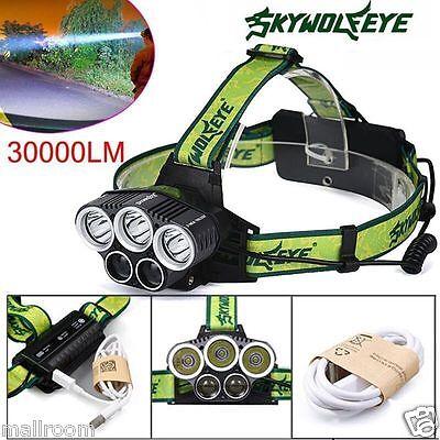 30000LM 5X XM-L T6 LED 5Modi 18650 USB Aufladbare Scheinwerfer Taschenlampe DE