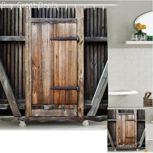 Farmhouse-Fabric-Shower-Curtain-Rustic-Wooden-Door-Lodge-Print-Bathroom-Decor
