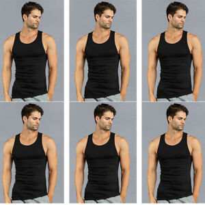 2293a75d0568e4 3 6 12 Mens 100% Cotton Ribbed All Black Undershirts Wife Beater ...