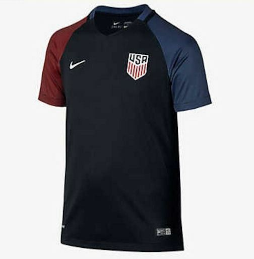 new concept eed0a 34c65 NIKE US USA National Soccer Team Black Replica Away S/S Jersey NEW Youth XL  20