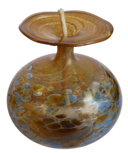 Öllampe mit Silber Metalloxide und Farbglas Granulat Petroleumlampe