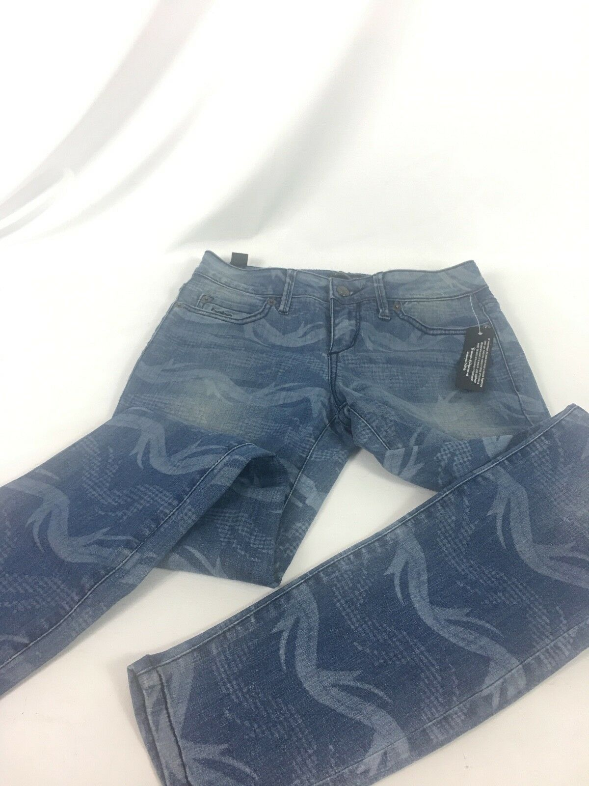 bebe  Tropical Tide Skinny Jeans bluee Pants Sz. 26 MSRP 119.00 NWT USA