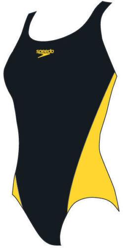 Girls Speedo Lepa Splashback Womens Swimsuit Black Yellow Endurance Medium Leg