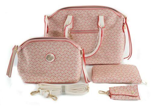Fashionable Women/'s Bag Purse Handbag Set Pink Red /& White 4 Piece Set