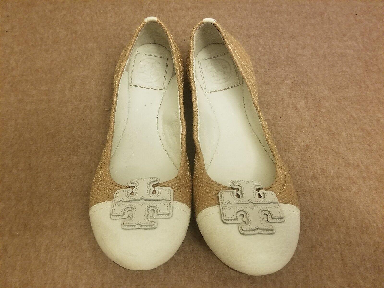Tory Burch Women Tan Leather Straw Woven Big Logo Ballet Flats shoes Size 7 M