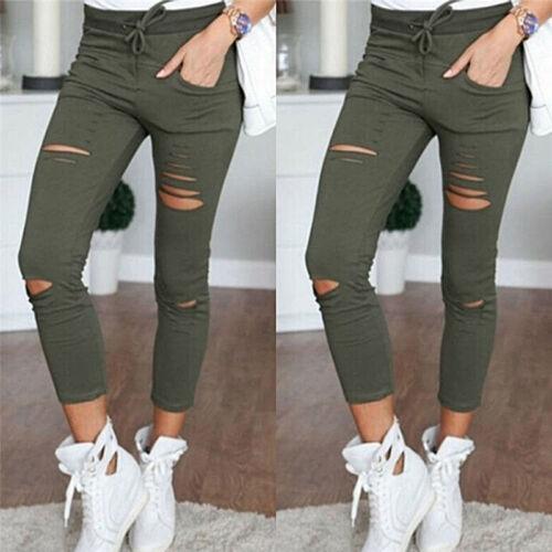 Fashion Women Ripped Holes Capri-pants Pencil High Waist Pants Skinny TrousersTS