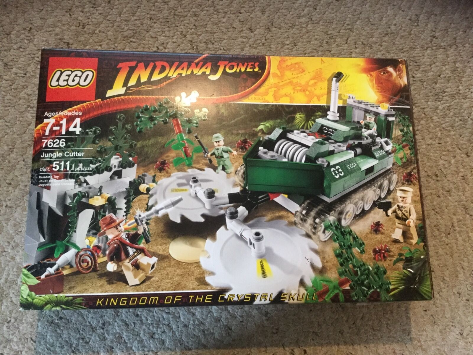 Pre Owned Lego 7626 Indiana Jones Jungle Cutter missing Indiana Jones.