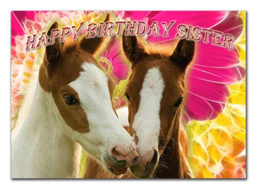C028; large personnalisé de carte d/'anniversaire; faites sur mesure pour tout nom; les chevaux poulains