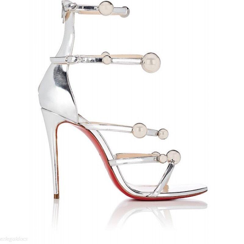 NIB Christian Louboutin Atonana 100 Silver Ball Ankle Strap Sandal Heel Pump 39