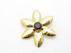 14kt Yellow & Red Garnet Flower Design Hand Made Charm Pendant Necklace Gift