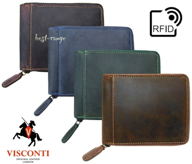 Visconti RFID Wallet Real Leather Bifold Slim with Coin Pocket New in Box 707