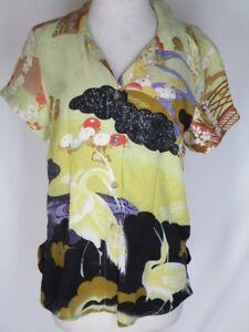Citron-Santa-Monica-Gold-Green-Orange-Black-Silk-Shirt-Top-BLouse-S-Asian-Design