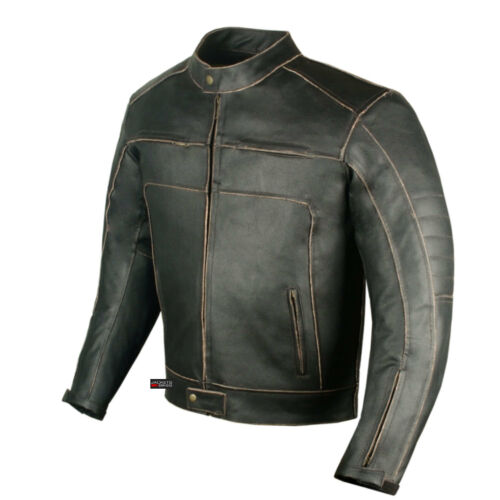Men/'s Vintage Motorcycle Cruiser Armor Ventilated Leather Touring Biker Jacket