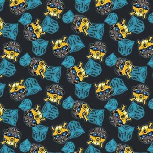 Transformers Bumblebee Head Toss Black Cotton Fabric Fat Quarter