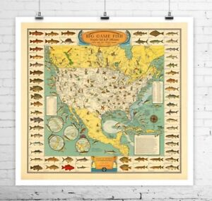 Big-Game-Fish-1936-Vintage-Fishing-Map-Rolled-Canvas-Giclee-Print-24x24-in