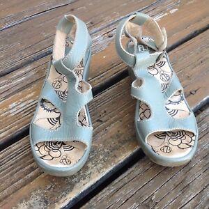 Fly-London-Green-Gray-Platform-Peep-Toe-Wedge-Sandals-Womens-8-8-5-EUR-39-Shoes