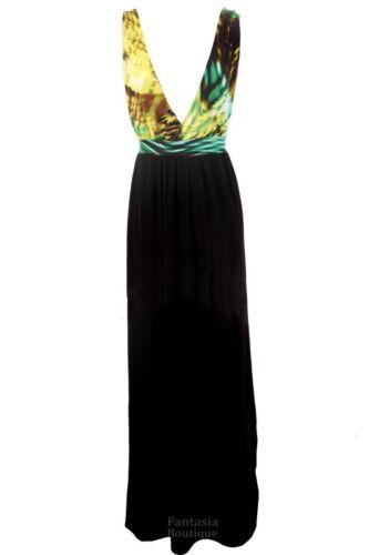 Ladies Multicolour Leopard Animal Strap Summer Stretch Maxi Women/'s Dress 8-14
