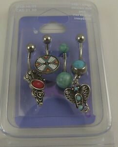 southwest-theme-set-of-4-belly-button-ring-piercing-body-jewelry-faux-turquois